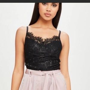 Carli Bybel X missguided black lace bodysuit